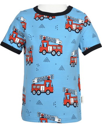 Meyadey T-Shirt shortsleeve FIRE TRUCKS blue GOTS D3394-M468