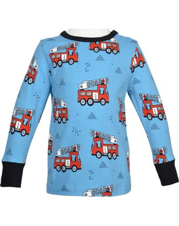 Meyadey T-Shirt Langarm FIRE TRUCKS blau GOTS D3394-M467