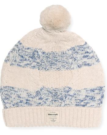 Mini A Ture Strick-Mütze Merino Wolle FERDUS HOOD angora cream 1213004052-1054