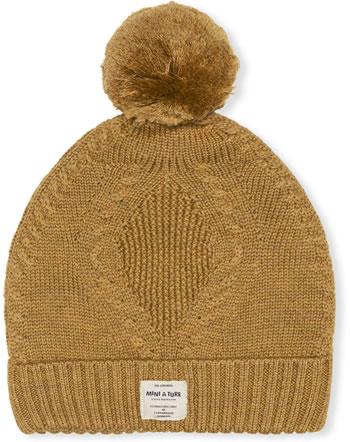 Mini A Ture Strick-Mütze Merino Wolle FERDUS HOOD hazel brown 1213087053-1311