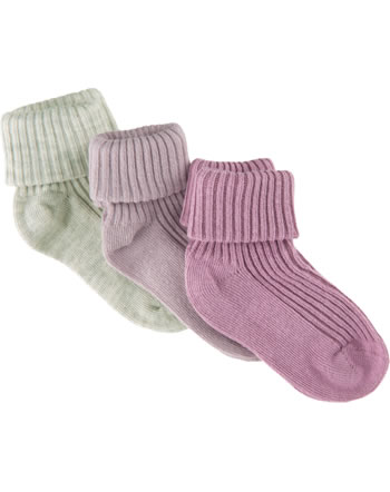 Minymo Baby socks 3 pack rose smoke 5755-514