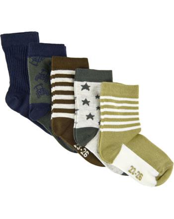 Minymo Socks 5-pack with stripes/patterns thrush 5079-287