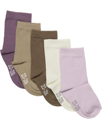 Minymo Kinder-Socken 5er Pack einfarbig very grape 5247-696