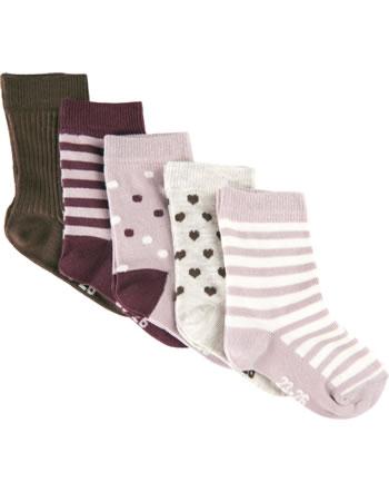 Minymo Socks 5-pack with stripes/patterns rose smoke 5079-514