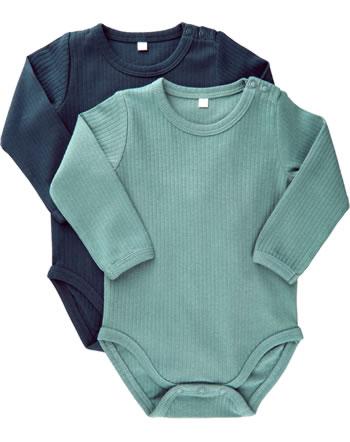 Minymo Langarm-Body 2er Set Organic Cotton goblin blue 5756-928