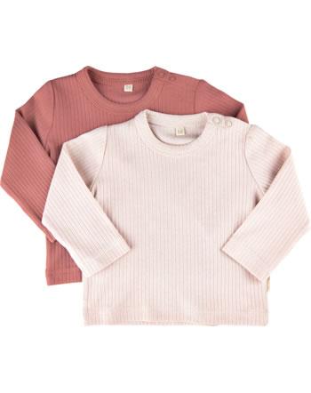 Minymo Girls T-shirt set of 2 round neck long sleeves BASIC canyon rose 5757-411