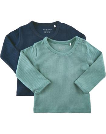 Minymo Mädchen T-Shirt 2er Set Rundhals Langarm BASIC goblin blue 5757-928