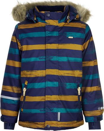 Minymo Snow jacket with hood HERRINGBONE AOP navy 160491-7790