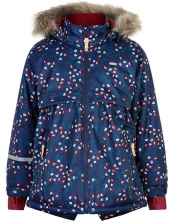 Minymo Snow jacket with hood HERRINGBONE AOP rio red 160492-4656