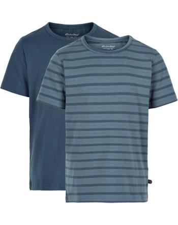 Minymo Jungen T-Shirt 2er Set Rundhals Kurzarm BASIC new navy 3932-713