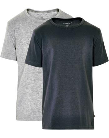Minymo Boys Shirt short sleeve Set of 2 BASIC dark navy 3932-778