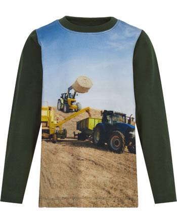 Minymo T-Shirt Langarm GELBER UND BLAUER TRAKTOR forest night 5953-9446