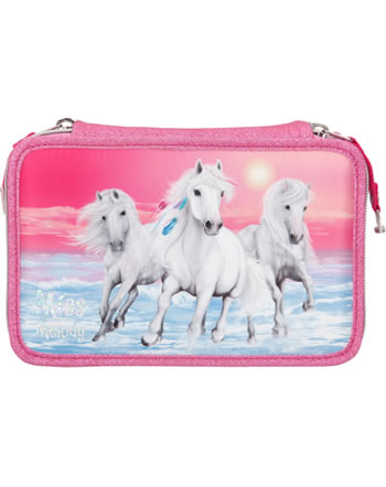 Miss Melody pencil case with three parts and filling Glitter pink 10110