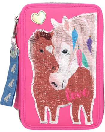 Miss Melody pencil case with three parts and filling sequins foal
