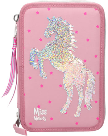 Miss Melody pencil case with three parts and filling sequins pink