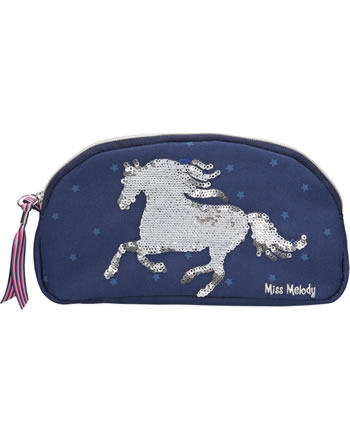 Miss Melody beauty bag with sequins blue