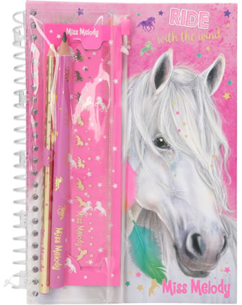 Miss Melody notebook with pencils and eraser