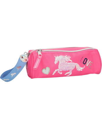 Miss Melody pencil case with sequins pink