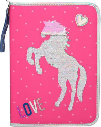 Miss Melody XXL pencil case with filling sequins pink
