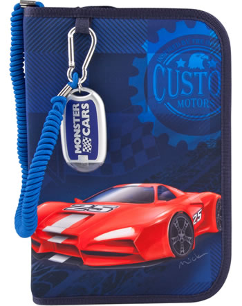 Monster Cars pencil case with filling with flashlight