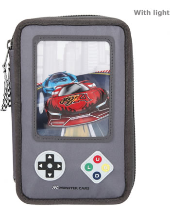 Monster Cars pencil case with filling LED GAMER 11075