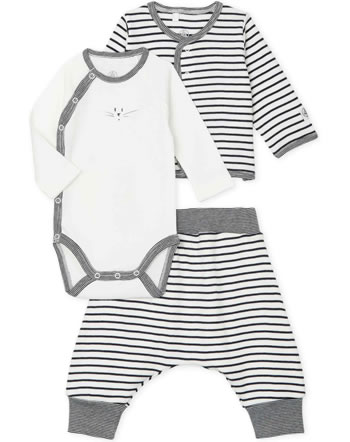 Petit Bateau 3er Set Jacke Hose Body marshmallow/smoking 56683-01