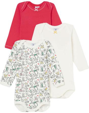 Petit Bateau Body longsleeve set de 3 Uni Rayures Chats rouge/blanc 49977-00