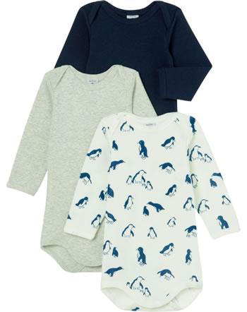 Petit Bateau Body longsleeve set de 3 Uni Pingouins crème/bleu/gris 49993-00