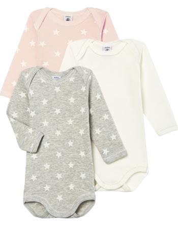 Petit Bateau Body longsleeve set de 3 Uni Rayures Étoiles rose/blanc/gris 49997-00