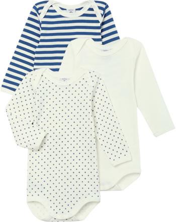 Petit Bateau Body longsleeve set de 3 Uni Rayures Étoiles crème/bleu 49994-00
