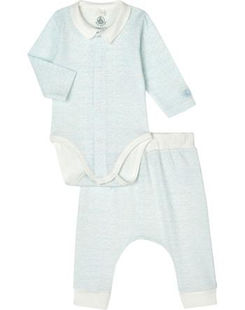 Petit Bateau Body manches longues et pantalons lot de 2 marshmallow/jasmin 54880-01