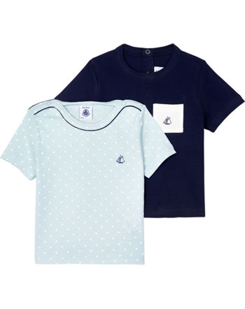 Petit Bateau Jungen T-Shirt 2er Set Kurzarm dunkelblau/hellblau 52938-99
