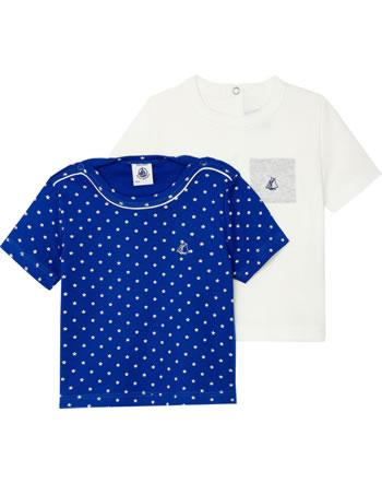 Petit Bateau Jungen T-Shirt 2er Set Kurzarm weiß/blau 52938-98
