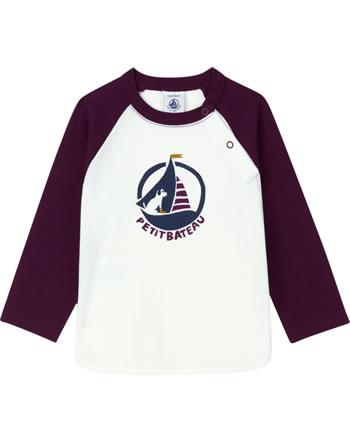Petit Bateau Baby Jungen T-Shirt Langarm marshmallow/cepage 56227-01