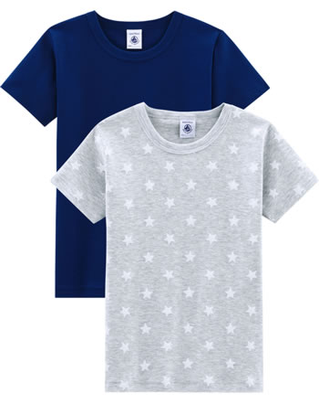 Petit Bateau Jungen-Unterhemden T-Shirts 2er Set Sterne Uni grau/blau 52514-00