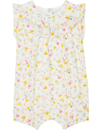 Petit Bateau Mädchen-Strampler Blumen-Muster marshmallow/multic. 52968-01