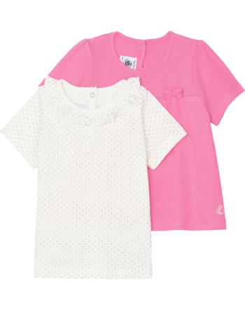 Petit Bateau Mädchen T-Shirt 2er Set Kurzarm grau/rosa 52939-00