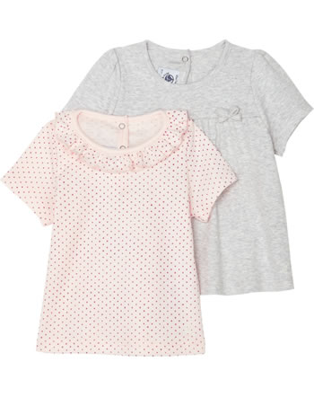 Petit Bateau T-shirt pour fille ensemble de 2 manches courtes gris/rose 52939-99