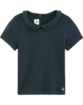 Petit Bateau Mädchen T-Shirt mit Bubi-Kragen Kurzarm smoking 54245-02
