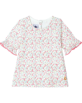 Petit Bateau Mädchen T-Shirt mit Rüschen Kurzarm marshmallow 53599-01