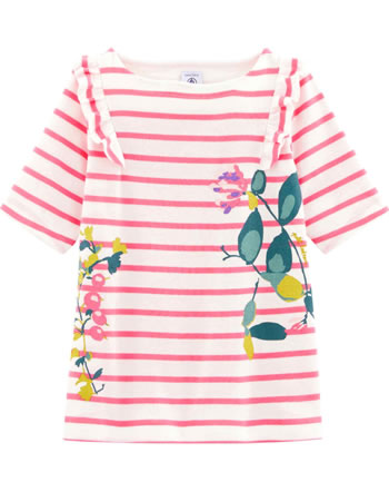 Petit Bateau Mädchen T-Shirt mit Rüschen Kurzarm marshmallow/cupcake 54489-02