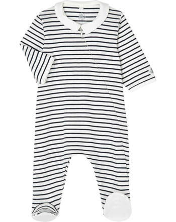 Petit Bateau Romper with feet striped LABY marshmallow/smoking 55728-01