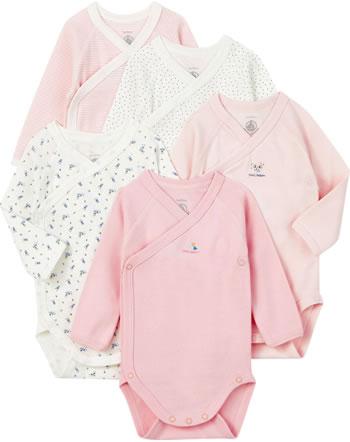 Petit Bateau Wickel-Body Langarm 5er Set für Mädchen LAMAR rosa/weiß 56496-00