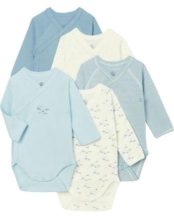Petit Bateau Body manches longues set of 5 creme/bleu 50121-00