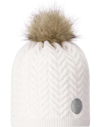 Reima Kinder Wollmütze mit Fell-Bommel Strickmuster TALVIO white 538103-0100