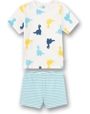 Sanetta Boys Pyjama short Dinos white pebble 221600-1948