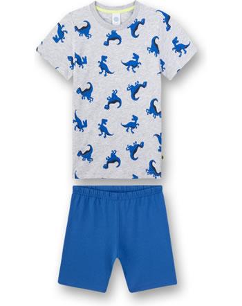 Sanetta Jungen Pyjama/Schlafanzug kurz hellgrau melange 232443-1646
