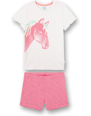 Sanetta Girls Pyjama short Horse white pebble 232616-1948