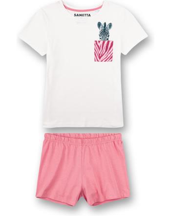 Sanetta Girls Pyjama short Zebra white pebble 244954-1948