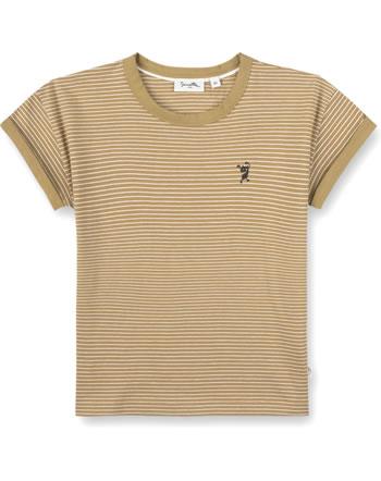 Sanetta Pure T-Shirt short sleeve Monster striped mustard 10317-22041 GOTS